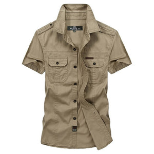 VINRUMIKA Big Size M-5XL 2020 Summer men's casual brand short sleeve shirt man 100% pure cotton khaki shirts army green clothing