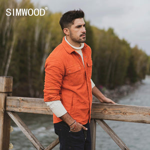 SIMWOOD 2020 spring new corduroy jacket men trucker Jacket fashion 100% cotton coats plus size outerwear brand clothing SI980670