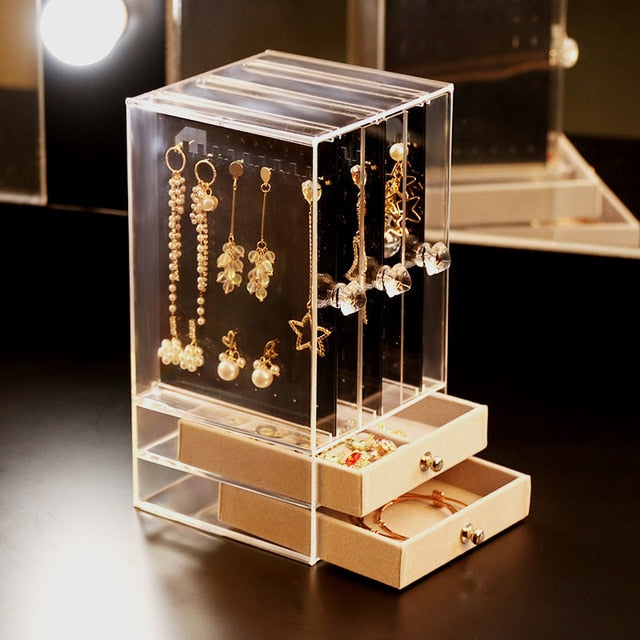 Portable Earrings Ring Display Stand Shelf Dustproof Acrylic Jewelry Storage Box Drawer Women Necklace Bracelet Organizer Case