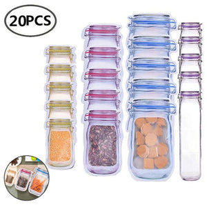Mason Bags Jar Bottles Zipper Bag Reusable Food Storage Snack Mason Bag Seal Fresh Sealed Bags Food Saver Bags VIP Link