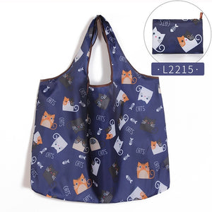 Folding Shopping Bag Eco-friendly Reusable Portable Shoulder Handbag for Travel Grocery Fashion Pocket Tote Bags