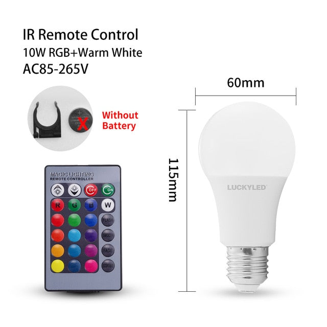 LUCKYLED RGB Led Bulb 5w 10w 15w Led Lamp E27 Dimmable AC 85-265V RGB Lampada Smart Night Light Bulbs with IR Remote Control