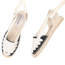 Load image into Gallery viewer, 2020 Time-limited New Arrival Hemp T-strap Flat With Open Rubber Sapato Feminino Sandals Sandals Womens Espadrilles Flat Shoes