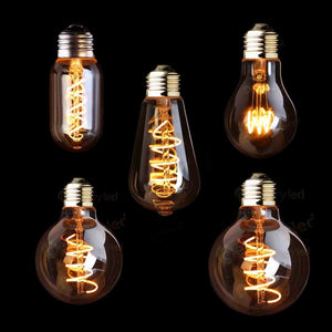 LED Dimmable Retro Edison Bulb E27 220V 3W Gold Spiral Filament ST64 A19 LED Lamp Vintage Incandescent Decorative LED Lighting