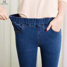Load image into Gallery viewer, Jeans woman  high waist  plus size  skinny  black blue  pocket  mom Jeans  Denim  pencil  pant  6XL