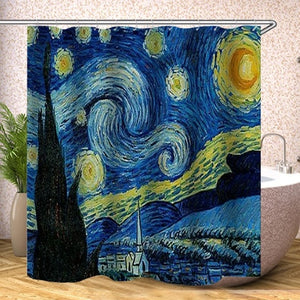 Japanese Bath shower curtain The Great Wave off Kanagawa Shower Curtain with Sea Wave Pattern Waterproof Bathroom Or Mat