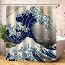 Load image into Gallery viewer, Japanese Bath shower curtain The Great Wave off Kanagawa Shower Curtain with Sea Wave Pattern Waterproof Bathroom Or Mat