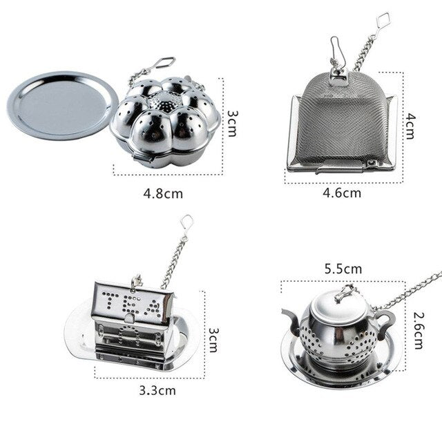 4Pcs/set Teapot Shape Stainless Steel Fine Mesh Tea Strainer Reusable Loose Leaf Infuser Spice Filter , Europe SGS Test Pass