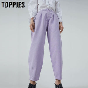 Toppies Denim Pants Women High Waist Harem Pants 2020 Loose Jeans Plus Size Trousers Women Casual Streetwear Pantalon Femme