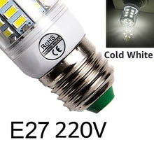 Load image into Gallery viewer, E27 LED Lamp E14 LED Bulb SMD5730 220V Corn Bulb 24 36 48 56 69 72LEDs Chandelier Candle LED Light For Home Decoration
