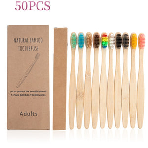 100Pcs Toothbrush Eco-Friendly Rainbow Bamboo Soft Fibre Toothbrush Biodegradable Teeth Brush Solid Bamboo Handle Toothbrush