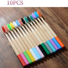 Load image into Gallery viewer, 100Pcs Toothbrush Eco-Friendly Rainbow Bamboo Soft Fibre Toothbrush Biodegradable Teeth Brush Solid Bamboo Handle Toothbrush