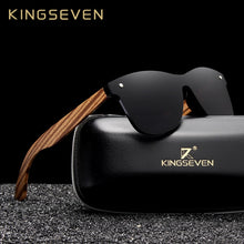 Load image into Gallery viewer, KINGSEVEN 2019 Polarized Square Sunglasses Men Women Zebra Wooden Frame Mirror Flat Lens Driving UV400 Eyewear