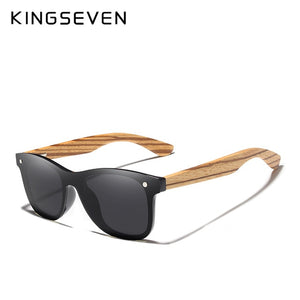 KINGSEVEN 2019 Polarized Square Sunglasses Men Women Zebra Wooden Frame Mirror Flat Lens Driving UV400 Eyewear