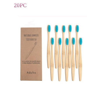 50 Pcs New Mixed Color Bamboo Toothbrush Eco Friendly Wooden Tooth Brush Soft Bristle Tip Charcoal Adults Oral Care Toothbrush
