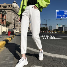 Load image into Gallery viewer, cotton White Jeans for Women High Waist Harem Mom Jeans spring 2020 new plus size black women jeans denim pants beige blue