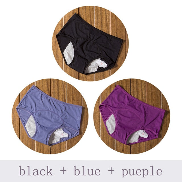 3pcs/Set Menstrual Panties Women Sexy Pants Leak Proof Incontinence Underwear Period Proof Cotton Briefs High Waist Warm Female