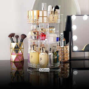 360 Degree Rotating Cosmetic Storage Box Makeup Organizer Cosmetics Storage Rack Fashion Crystal helf Display Stand High Capacit
