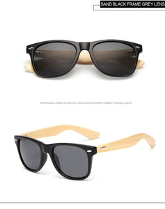LongKeeper Polarized Wood Bamboo Sunglasses Women Brand Design Mens Real Wooden Arms Sun Glasses Mirrorr Lens Gafas de sol