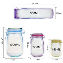 Load image into Gallery viewer, Reusable Mason Jar Bottles Bags Nuts Candy Cookies Bag Waterproof Seal Fresh Food Storage Bag Snacks Sandwich Zip Lock Bags