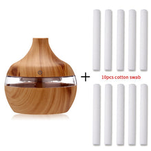 Load image into Gallery viewer, saengQ Electric Humidifier Essential Aroma Oil Diffuser Ultrasonic Wood Grain Air Humidifier USB Mini Mist Maker LED Light For
