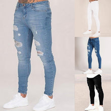 Load image into Gallery viewer, Oeak Mens Solid Color  Jeans 2019 New Fashion Slim  Pencil Pants Sexy Casual Hole Ripped Design Streetwear
