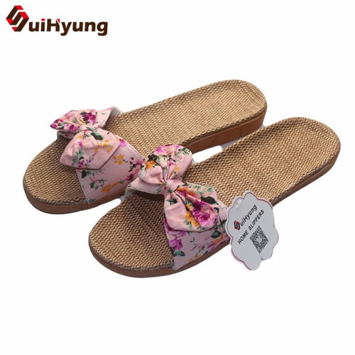 Suihyung Women Flax Slippers Summer Casual Slides Beach Shoes Ladies Indoor Linen Slippers Bohemia Floral Bow Flip Flops Sandals Enviro Lighthouse