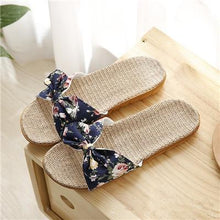 Load image into Gallery viewer, Suihyung Women Flax Slippers Summer Casual Slides Beach Shoes Ladies Indoor Linen Slippers Bohemia Floral Bow Flip Flops Sandals