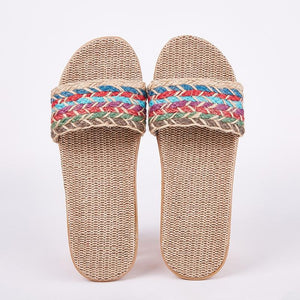 Suihyung Women Flax Slippers Sandals Summer Comfortable Non-slip Ladies Home Flip Flop Cross-tied Casual Indoor Shoes Multicolor Enviro Lighthouse