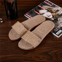 Load image into Gallery viewer, Suihyung Women Flax Slippers Sandals Summer Comfortable Non-slip Ladies Home Flip Flop Cross-tied Casual Indoor Shoes Multicolor Enviro Lighthouse As Show 10 6