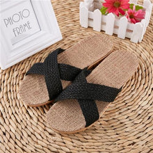 Load image into Gallery viewer, Suihyung Women Flax Slippers Sandals Summer Comfortable Non-slip Ladies Home Flip Flop Cross-tied Casual Indoor Shoes Multicolor Enviro Lighthouse As Show 7 6