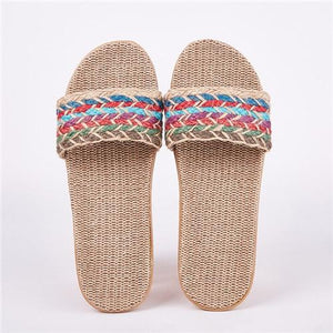 Suihyung Women Flax Slippers Sandals Summer Comfortable Non-slip Ladies Home Flip Flop Cross-tied Casual Indoor Shoes Multicolor Enviro Lighthouse As Show 13 6