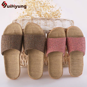 Suihyung Women Slippers Ladies Flax Casual Slides 6 Colors Summer Linen Belt Female Sandals Flip Flops Lovers Indoor Floor Shoes