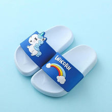 Load image into Gallery viewer, Suihyung Rainbow Unicorn Slippers For Boys Girls New Summer Kids Beach Shoes Baby Toddler Soft Indoor Slippers Children Sandals Enviro Lighthouse Blue 35