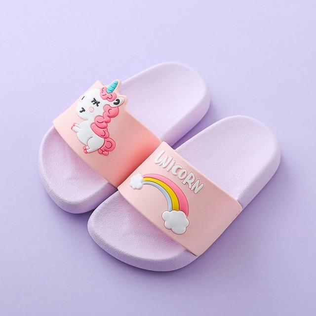 Suihyung Rainbow Unicorn Slippers For Boys Girls New Summer Kids Beach Shoes Baby Toddler Soft Indoor Slippers Children Sandals Enviro Lighthouse Lavender 35