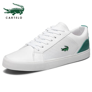 CARTELO 2020 New Casual Shoes Men Leather Flat Shoes Lace-up Low Top Sneakers Tenis Masculino