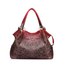 Load image into Gallery viewer, Top-handle Bags for Women Hollow Out Ombre Handbag Floral Print Shoulder Bags Ladies Pu Leather Tote Bags Vintage Bolsa Feminina