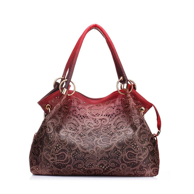 Top-handle Bags for Women Hollow Out Ombre Handbag Floral Print Shoulder Bags Ladies Pu Leather Tote Bags Vintage Bolsa Feminina