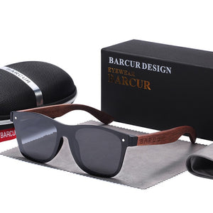 BARCUR Natural Black Walnut Sun glasses for Men Polarized Sunglasses Wood UV400 Oculos de sol masculino feminino