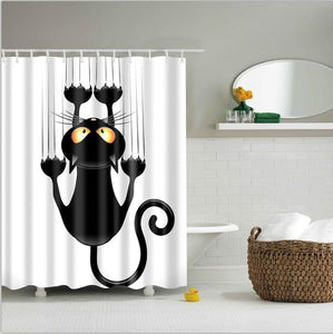 high quality adventures of Unicorn and Cat Printed Shower Curtains Bath Products Bathroom Decor with Hooks Waterproof
