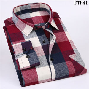 Men's Long Sleeve Flannel Plaid Shirt 100% Cotton Spring Festival Autumn Soft Comfortable Men Social Shirt Retro Casual clothing