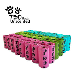 Biodegradable Dog Poop Bags Earth-Friendly 18/48 Rolls 270/720 Counts Blue Green Pink Lavender Scented Garbage Bag Cat Waste Bag