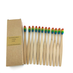 Biodegradable Reusable Bamboo Toothbrushes, Bamboo Toothbrush made from Natural Bamboo Eco-Friendly Bristles 12 pcs