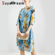 Load image into Gallery viewer, SuyaDream Women Printed Silk Dresses 100%Silk Crepe V neck Knee length Belted Office Dress 2020 Fall Sash Midi Dress Vestidos