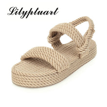Load image into Gallery viewer, Lilyptuart 2020 Big Size 43 On Sale Top Quality Gladiator Hemp Flat Slip On Straw Summer women's Sandals Shoes Woman