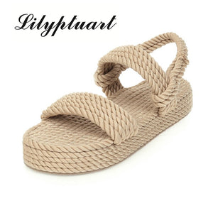 Lilyptuart 2020 Big Size 43 On Sale Top Quality Gladiator Hemp Flat Slip On Straw Summer women's Sandals Shoes Woman