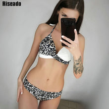 Load image into Gallery viewer, Riseado Sexy Push Up Bikinis Set Swimwear Women Swimsuits Bathing Suit Women Halter biquini Leaf Print Beach Wear Bikini 2020