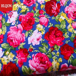 High quality 100% cotton printed sateen rose peony fabric used for Quilting sewing dress women clothing skirt hat by 100x150cm