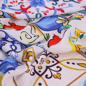 sicilian majolica printed fabric,100% cotton fabric for women children clothing,Dress Sewing DIY material soft cotton tissus