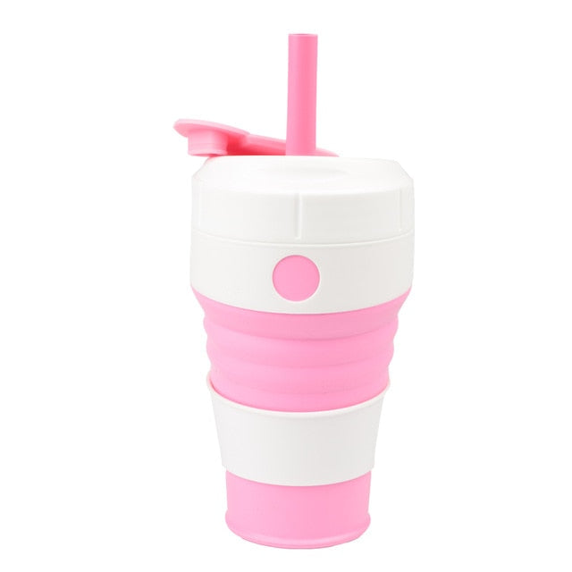 450mL Silicone Collapsible Coffee Cup With Straw Leak-proof Lid For Travel Hiking Picnic Food Grade BPA FREE Foldable Coffee Mug